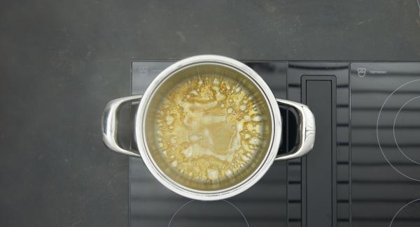 Desglasar con el zumo de manzana y cocer a fuego lento hasta que el azúcar se haya disuelto. Añadir las ciruelas, el palito de canela y la ralladura de limón.