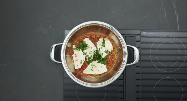 Sazonar al gusto con sal, pimienta y azúcar. Poner el pescado en la salsa, espolvorear con perejil y servir.