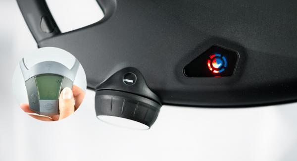 Colocar la sartén sobre una superficie resistente al calor y colocar el Navigenio en modo de horno (poniéndolo invertido encima de la olla) y ajustar a temperatura baja. Cuando el Navigenio parpadee en rojo/azul, introducir 5 minutos en el Avisador (Audiotherm) y hornear