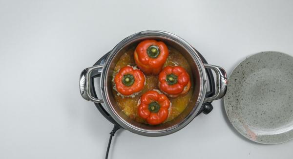 Cortar las hojas de albahaca finamente, retirar los pimientos, triturar la salsa, sazonar al gusto y servir con los pimientos. Servir espolvoreado con albahaca.