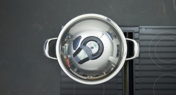 """Agregar las verduras con leche de coco y pasta de curry. Encender el fuego a temperatura máxima, calentar la olla hasta la ventana de """"zanahoria"""", bajar temperatura y cocinar 5 minutos con el Avisador (Audiotherm)."""