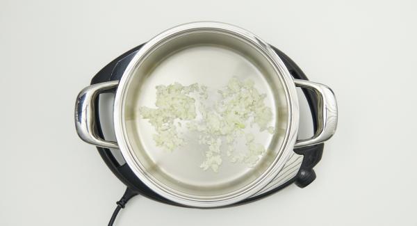 """Poner el resto de la cebolla en la olla y colocarla en el Navigenio a temperatura máxima (nivel 6). Encender el Avisador (Audiotherm), colocarlo en el pomo (Visiotherm) y girar hasta que se muestre el símbolo de """"chuleta""""."""