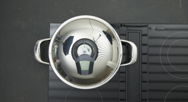 Colocar las pechugas bien secas en la olla, presionar un poco. Tapar y dorar con la ayuda del Avisador hasta alcanzar la tempeatura de los 90º C.