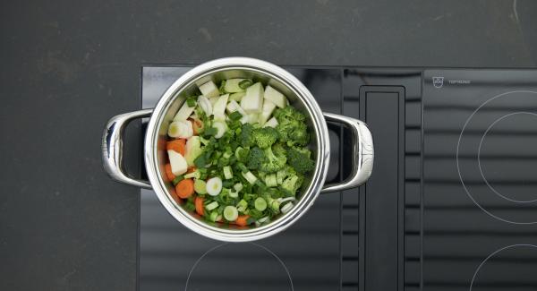 """Colocar la olla en el fuego a temperatura máxima. Encender el Avisador e introducir 20 minutos de tiempo de cocción. Colocarlo en el pomo y girar hasta que aparezca el símbolo de """"zanahoria""""."""
