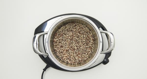 Añadir el agua, la quinoa y la sal en una olla. Colocar la olla en Navigenio y tapar con la Tapa Rápida.