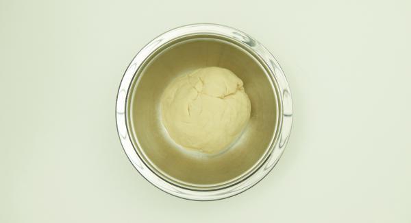Mezclar todos los ingredientes hasta obtener una masa homogénea y dejar reposar durante 30 minutos a temperatura ambiente.