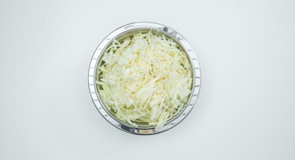 Limpiar el repollo y cortar en tiras finas. Pelar y cortar la cebolla en dados finos.