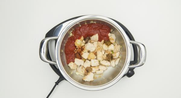 Dar la vuelta a la carne, añadir la cebolla y cocinar. Agregar la pasta de jengibre y ajo, todas las especias y la salsa de tomate.