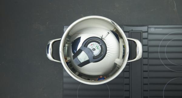 """Colocar la olla en el fuego a temperatura máxima. Encender el Avisador (Audiotherm), introducir 20 minutos de tiempo de cocción. Colocarlo en el pomo (Visiotherm) y girar hasta que aparezca el símbolo de """"zanahoria""""."""