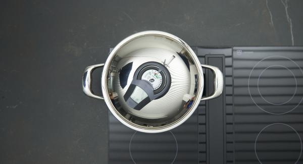 """Colocar la olla en el fuego a  máxima temperatura. Encender el Avisador, introducir 10 minutos de tiempo de cocción. Colocarlo en el pomo  y girar hasta que aparezca el símbolo de """"zanahoria""""."""