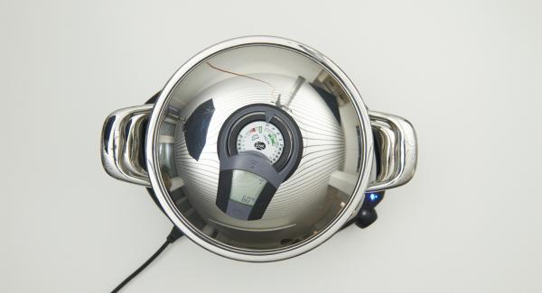 Colocar la olla en el Navigenio y seleccionar la función (A). Encender el Audiotherm Plus, introducir aprox. 10 minutos de tiempo de cocción, colocar en el pomo (Visiotherm) y girar hasta que aparezca el símbolo 60°C.