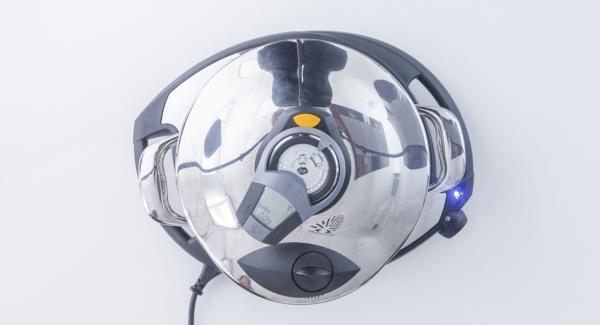 """Colocar una olla en el Navigenio y seleccionar la función """"A"""", encender el Avisador (Audiotherm), introducir 4 minutos de tiempo de cocción. Colocarlo en el pomo (Visiotherm) y girar hasta que aparezca el símbolo de """"Turbo""""."""