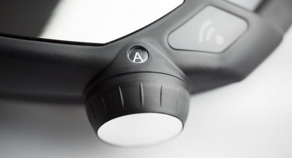 """Colocar la olla en el Navigenio y seleccionar la función """"A"""". Introducir 1 minuto de tiempo de cocción en el Avisador (Audiotherm) y girar hasta que aparezca el símbolo de """"soft""""."""