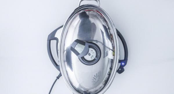 """Colocar una Oval en el Navigenio y seleccionar la función """"A"""", encender el Avisador (Audiotherm, introducir 15 minutos de tiempo de cocción. Colocarlo en el pomo (Visiotherm) y girar hasta que aparezca el símbolo de """"zanahoria""""."""