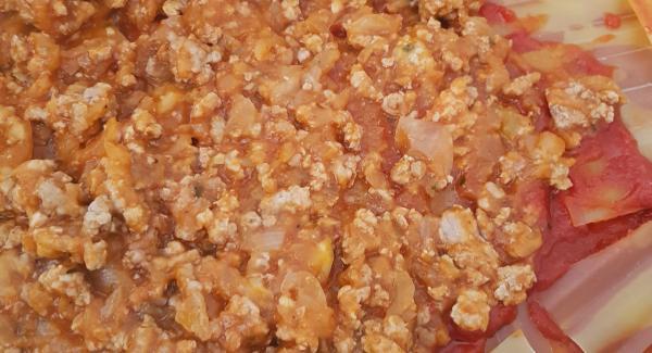 Calentar sartén en Navigenio al 6 y  poner Audiotherm en símbolo  Chuleta . Cuando nos avise, añadir la carne picada y tapar. Esperar que suba hasta el final del reloj (90º-98º).  Ahora añadimos la cebolla picada, las zanahorias que son  opcionales ,picadas en la picadora, sal, orégano, pimienta molida y nuez moscada, al gusto. Una vez la cebolla pochada, añadimos el tomate frito, damos una vueltas que todo coja sabor y empezamos a montar la lasaña en la Oval.